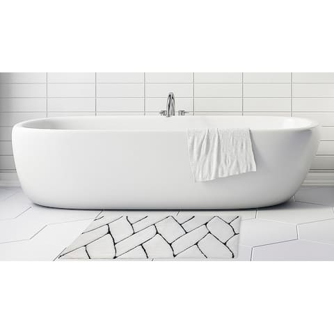 """Unbelievable Mats 18"""" x 30"""" Black and White Abstract Handmade Cotton Bath Mat"""