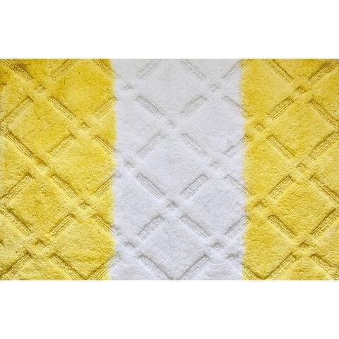 """Unbelievable Mats 18"""" x 30"""" Yellow Handmade Cotton Bath Mat"""