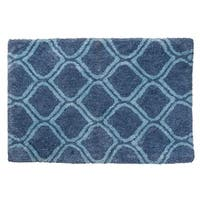"Unbelievable Mats 18"" x 30"" Elegant Blue Handmade Cotton Bath Mat"
