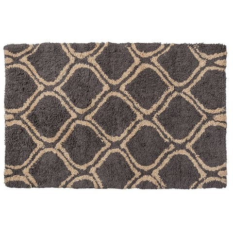 "Unbelievable Mats 18"" x 30"" Handmade Chic Charcoal and Gold Cotton Bath Mat"