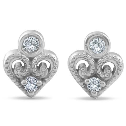Pompeii3 14k White Gold Diamond Heart Shape Studs