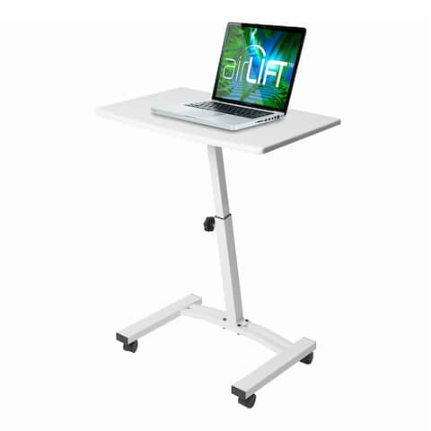 AIRLIFT White Mobile Laptop Computer Desk Cart With Adjustable Height Range 20.5 in to 33 in