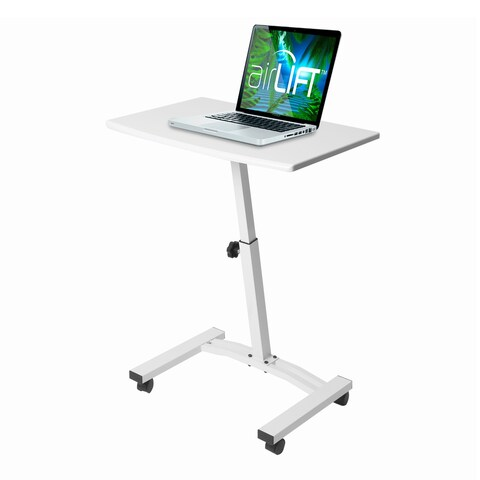 """Seville Classics Mobile Laptop Computer Desk Cart, Height-Adjustable from 20.5"""" to 33"""", White"""