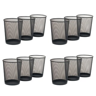 "Seville Classics Round Mesh Wastebasket Recycling Bin, 12"" x 14"", Black (12 Pack)"