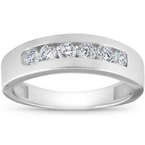 14k White Gold 1 Ct TDW Diamond Mens Wedding Ring High Polished Channel Set Mans Band