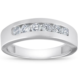 14k White Gold 1 Ct TDW Diamond Mens Wedding Ring High Polished Channel Set Mans Band