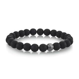 SPARTAN Black Agate Sterling Silver Men's Beaded Bracelet