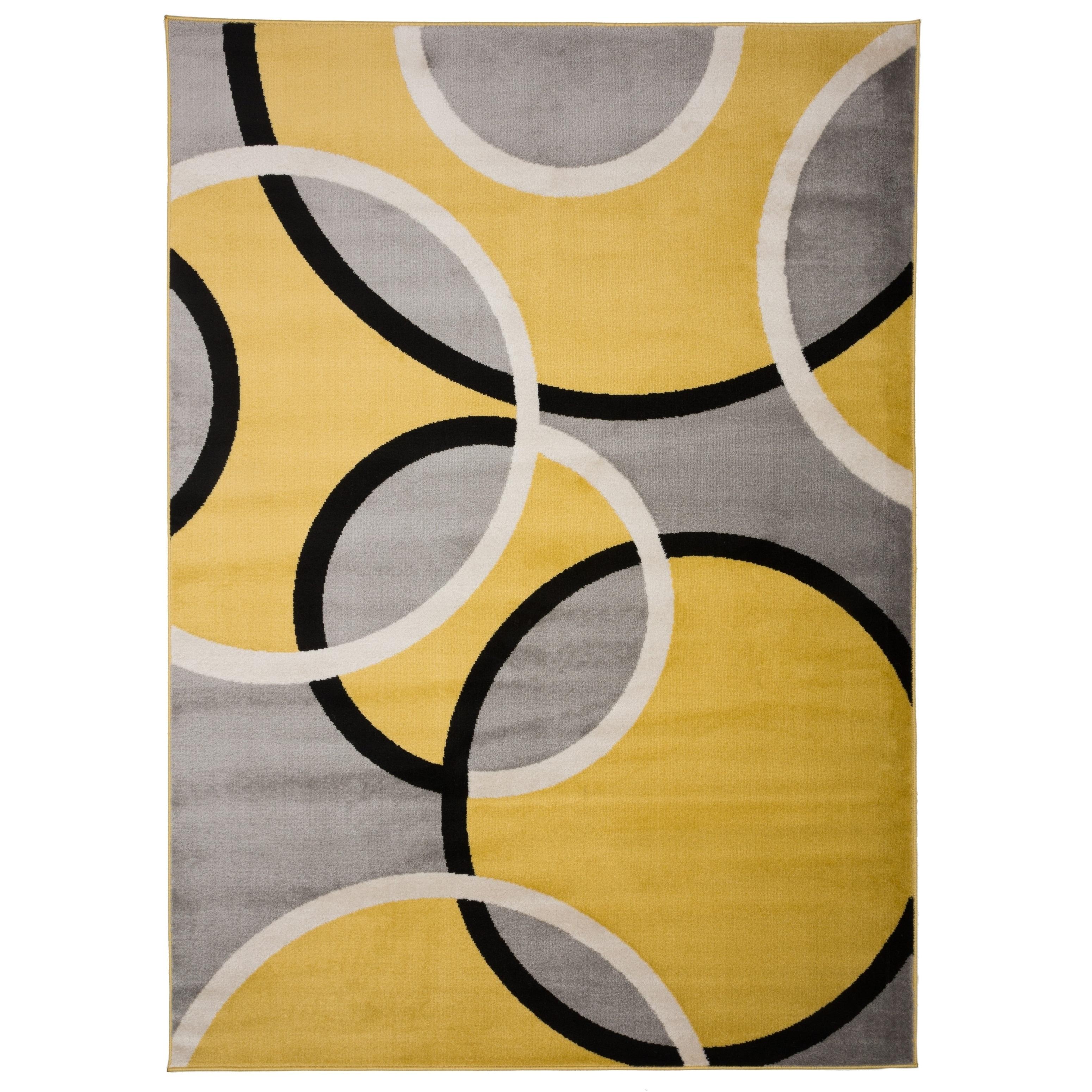Modern Abstract Circles Yellow Grey Area Rug 7 10 X 2