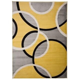 "Modern Abstract Circles Yellow/Grey Area Rug - 7'10"" x 10'2"""
