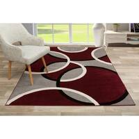 Modern Abstract Circles Red Area Rug - 7'10 x 10'2