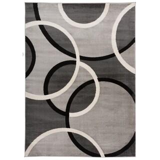"OSTI Grey Modern Abstract Circles Area Rug - 7'10"" x 10'2"""