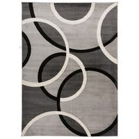 OSTI Grey Modern Abstract Circles Area Rug - 7'10 x 10'2
