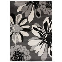 "OSTI Contemporary Modern Flowers Grey Area Rug - 7'10"" x 10'2"""