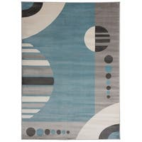 OSTI Blue Geometric Circles Area Rug - 7'10 x 10'2