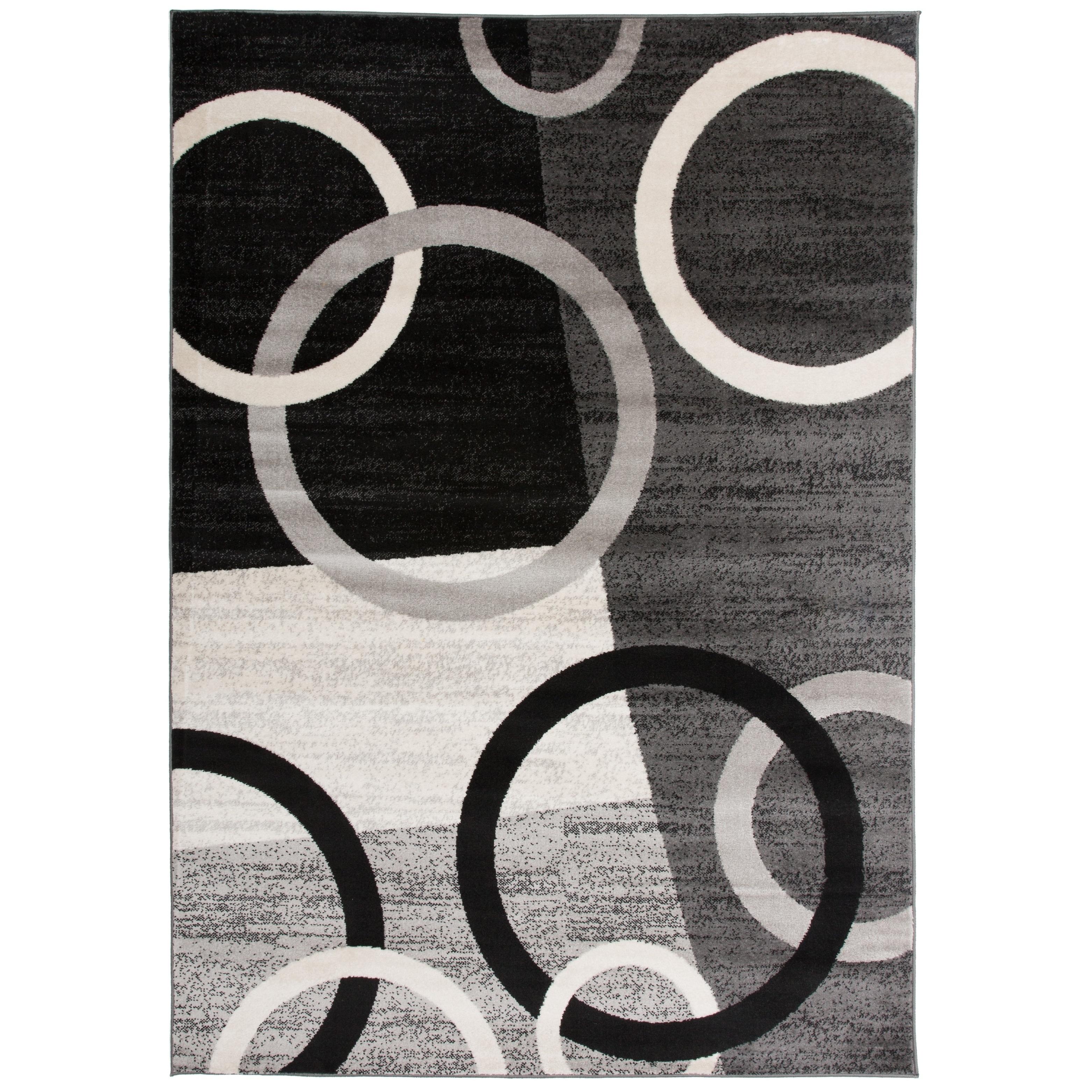 Grey Black White Area Rug