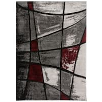 OSTI Grey Modern Abstract Shapes Area Rug - 7'10 x 10'2
