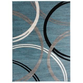 "OSTI Contemporary Blue Abstract Circles Design Area Rug - 7'10"" x 10'2"""
