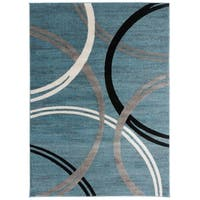 OSTI Contemporary Blue Abstract Circles Design Area Rug - 7'10 x 10'2