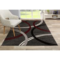OSTI Red Abstract Circles Contemporary Design Area Rug - 7'10 x 10'2