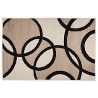 Modern Abstract Circles Rug  Beige - 2' x 3'