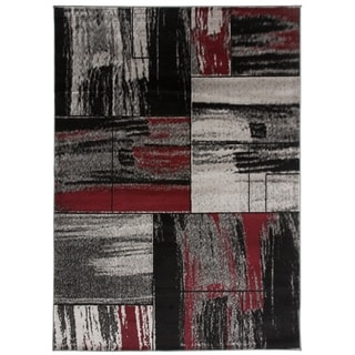 """OSTI Modern Distressed Red Geometric Boxes Area Rug Red Rug - 7'10"""" x 10'2"""""""