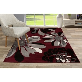 """Contemporary Modern Flowers Area Rug Red - 7'10"""" x 10'2"""""""