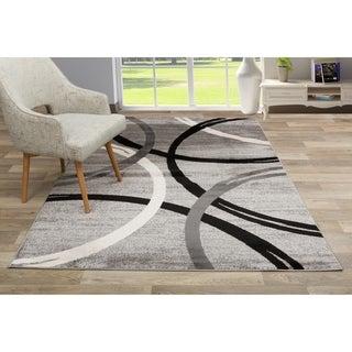 """Contemporary Abstract Circles Design Area Rug Gray - 7'10"""" x 10'2"""""""