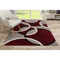 Modern Abstract Circles Area Rug Red - 3'3 x 5'