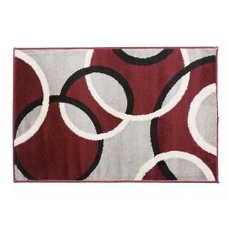 Modern Abstract Circles Rug  Red - 2' x 3'