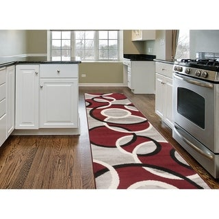 "Modern Abstract Circles Runner Rug  Red - 2' x 7'2"" Runner"