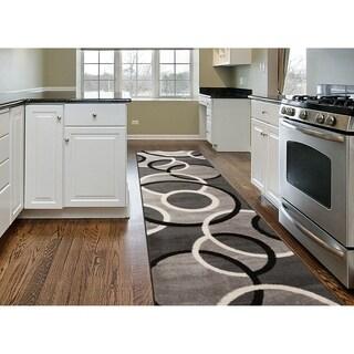 "Modern Abstract Circles Runner Rug  Gray - 2' x 7'2"" Runner"