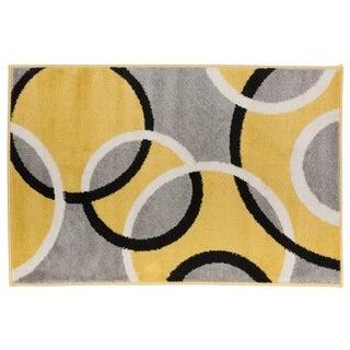 Modern Abstract Circles Rug  Yellow - 2' x 3'