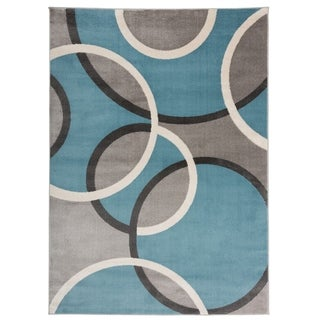 """Modern Abstract Circles Area Rug Blue - 5'3"""" x 7'3"""""""