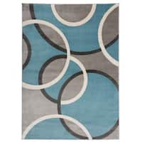 Modern Abstract Circles Area Rug Blue - 5'3 x 7'3