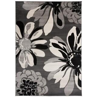 "Contemporary Modern Flowers Area Rug Gray - 5'3"" x 7'3"""