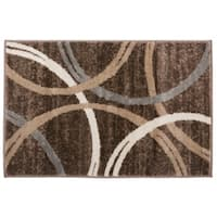 Contemporary Abstract Circles Design Rug Brown - 2' x 3'