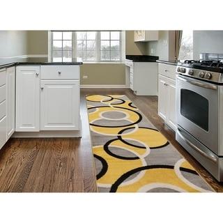 """Modern Abstract Circles Runner Rug  Yellow - 2' x 7'2"""" Runner"""