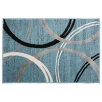 Contemporary Abstract Circles Design Rug  Blue - 2' x 3'