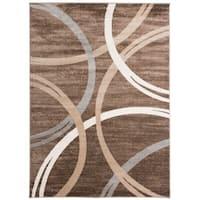 "Contemporary Abstract Circles Design Area Rug Brown - 5'3"" x 7'3"""
