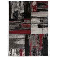 Modern Distressed Geometric Boxes Area Rug Red - 5'3 x 7'3