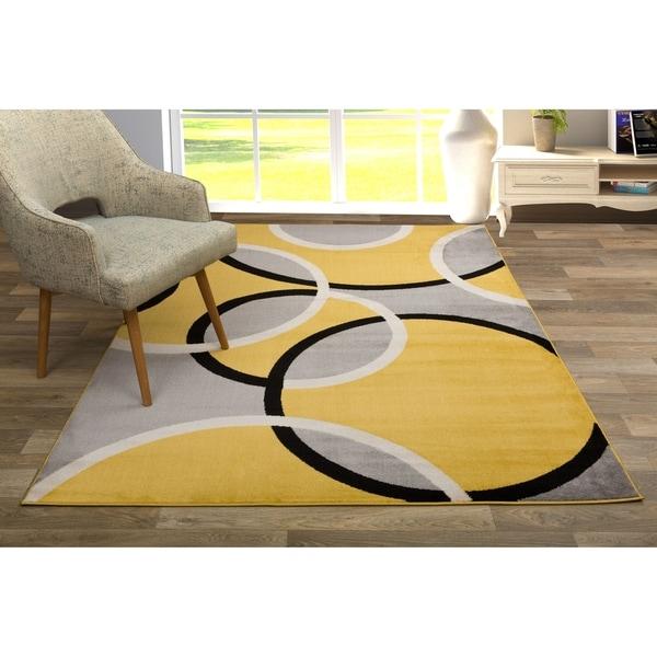 "Modern Abstract Circles Area Rug Yellow - 5'3"" x 7'3"""