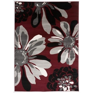 """Contemporary Modern Flowers Area Rug Red - 5'3"""" x 7'3"""""""