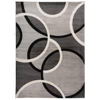 Modern Abstract Circles Grey Area Rug (5'3 x 7'3)