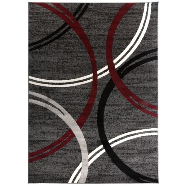 """Contemporary Abstract Circles Design Area Rug Red - 5'3"""" x 7'3"""""""