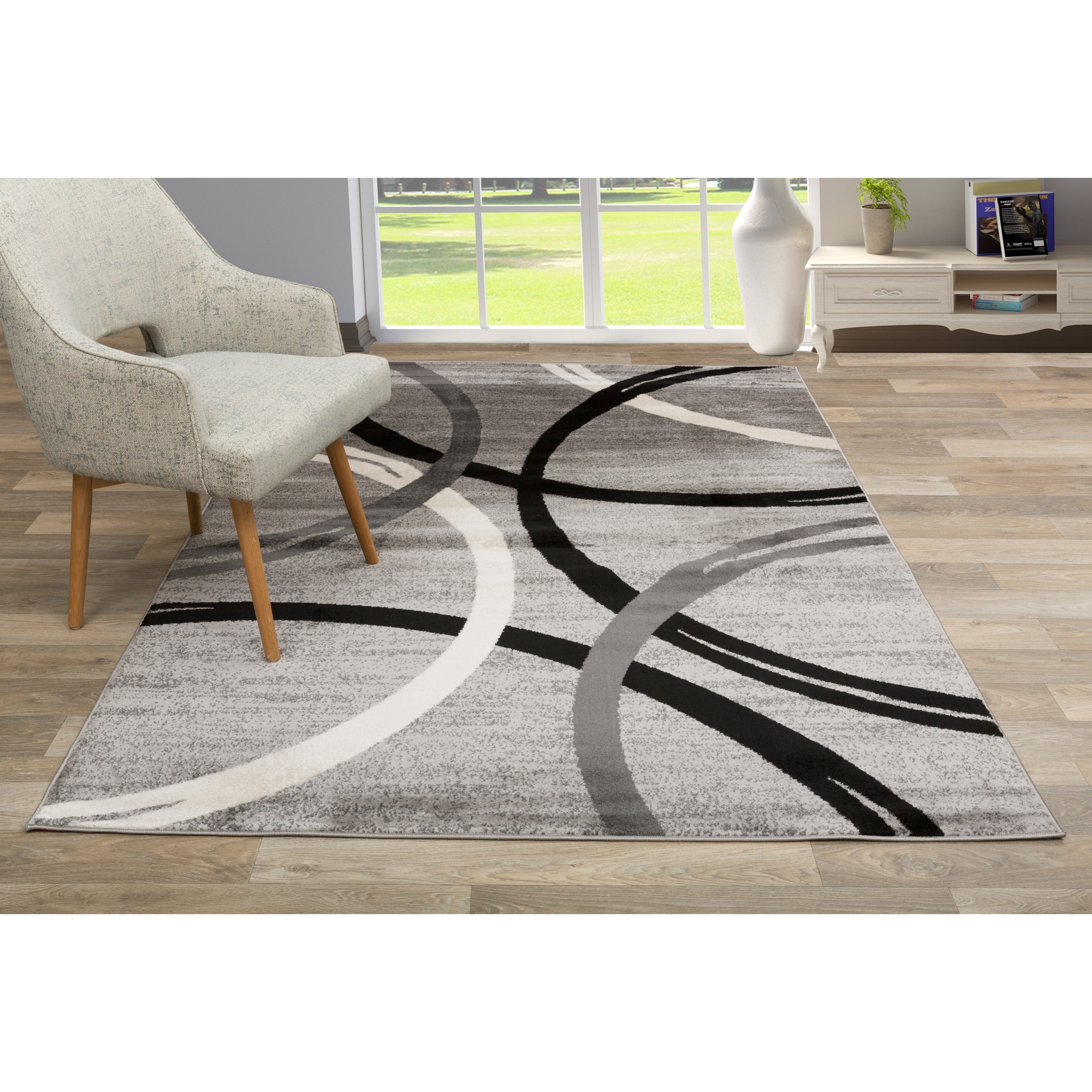 Contemporary Abstract Circles Design Area Rug Gray 5 3 X 7 3