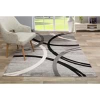 Contemporary Abstract Circles Design Area Rug Gray - 5'3 x 7'3
