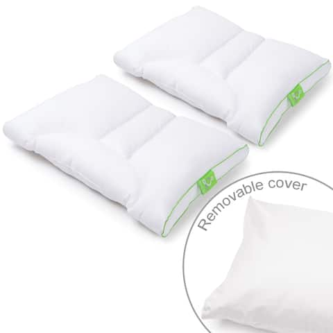 Sleep Yoga 2-Pack Standard/Queen Pillow Zipper Cover Protector - Lyocell Cotton Hypoallergenic, Machine Washable - White