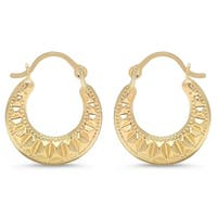 Pori Jewelers 10K Solid Gold Designed Hoop Earrings BOXED