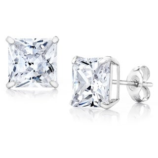 Pori Jewelers 14K White Gold 6MM Princess-Cut Stud Earrings made with Crystals by Swarovski BOXED
