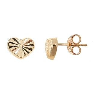 Pori Jewelers 14K Solid Gold Heart Stud Earrings BOXED